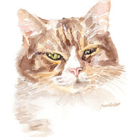 Calico Cat Watercolor Painting Giclee Print - 8x10 / 8.5x11 - Cat Lover - Cat Wall Art