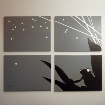 Frog Paintings Gray Black White Night Scene 18 x 24 by rickycolson