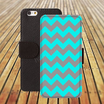 lighting blue Chevron iphone 5/ 5s iphone 4/ 4s iPhone 6 6 Plus iphone 5C Wallet Case , iPhone 5 Case, Cover, Cases colorful pattern L036