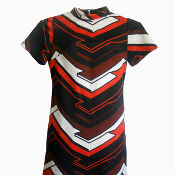 Vintage Mod Dress Navy Orange White and Rust by houseofheirlooms
