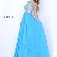 Sleeveless High Neckline Formal Prom Gown By Sherri Hill 5203