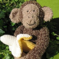Knitted Monkey plush with banana by Binkys on Etsy