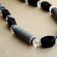 Black and Grey Beaded Necklace Elegant Jewelry