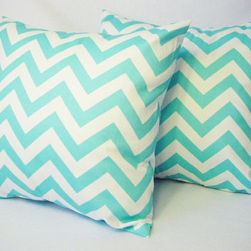 2 Chevron Decorative Pillow Covers Teal and White - 16 x 16 inches Throw Pillow Cushion Cover Accent Pillow