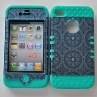 Apple Iphone 4 4s Blue Circular Snap On Over Teal Silicone Case