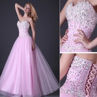 Long Sequins Beaded Homecoming Evening Dress Formal Ball gown Party Prom Dresses