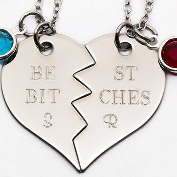 Best Bitches Necklace Set |Personalized Engraved Gift For Best Friend | Custom Birthstone Best Friend Gift | Best Bitches Jewelry