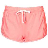 Washed Seam Panel Runner Shorts - Fluro Coral