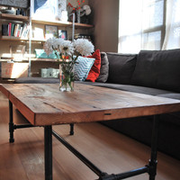 """Wood Coffee table with steel pipe legs made of reclaimed wood, Standard 1.65"""" top, 18"""" tall x 36"""" L x 36"""" w"""