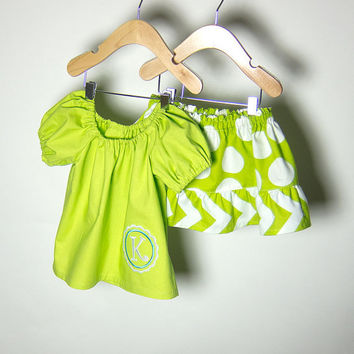 Toddlers Outfit Ruffled Twirl Skirt & Handmade Peasant Blouse with Custom Personalized Monogrammed on