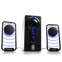 GOgroove BassPULSE Glowing Blue LED Computer Speaker Sound System - Works with Dell , ASUS , Lenovo , Apple , Alienware , CyberpowerPC and More Desktops , Laptops , Gaming Towers and Steam Consoles