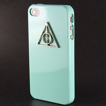 Deathly Hallows Harry Potter Light Green Hard Case for iPhone 4 Case, iPhone 4s Case, iPhone 4 Hard Case style A
