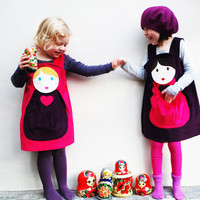 Girls Dress Russian Doll customised pinafore