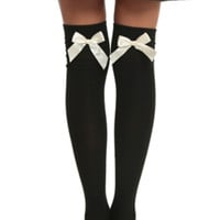 LOVEsick Black And Ivory Bow Over-The-Knee Socks