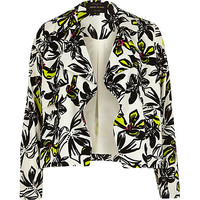 River Island Womens Cream floral print draped cropped jacket