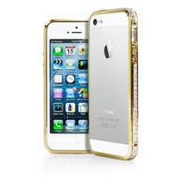 iPhone 5S Case, MagicMobile® Luxury Fashion Metal Frame with Diamonds Crystal Deluxe Rhinestone Bling Aluminum Bumper Hard Sides Cover [ Gold ] with Charm [ Compatible Only with iPhone 5 / 5S ]
