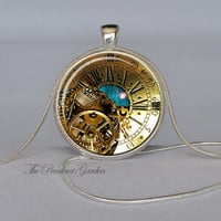 STEAMPUNK PENDANT Brass and Teal Colors Steampunk Clock Pendant Nebula Time Space Clock Steampunk Astronomy Geek Necklace Clock Necklace