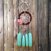 "Pink and Mint Green 3"" Dream Catcher: Car Dream Catcher"