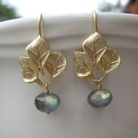 Labradorite and Golden Leaves Earrings by irisjewelrydesign