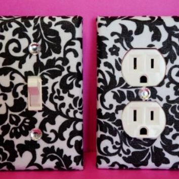 Damask Light Switch Plate & Outlet Cover Set of 2 Black & White Floral Damask ALL STYLES AVAILABLE!
