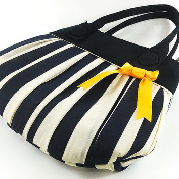 Nautical Purse Handbag Navy White Pleated Tote by TheBowMakers