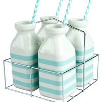 Carousel Set of 4 Milk Bottles with Straws And Basket - Blue