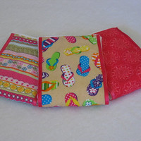 Burp Cloths - flip-flop sandal motif fabric coordinated with pink fabrics and hot pink ribbon, sewn on diaper