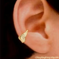 Tiny Angel wing Gold ear cuff earring jewelry - earcuff for men and women 090912