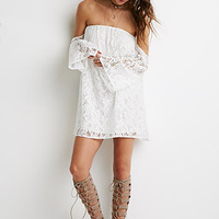 Off-the-Shoulder Floral Lace Dress