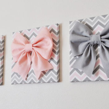 """SET OF THREE Wall Decor -Large Gray Pink and White Bows on Pink and Gray Chevron 12 x12"""" Canvases Wall Art- Baby Nursery Wall Decor-"""