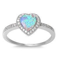 Sterling Silver Micro Pave Halo Green Opal Heart Ring