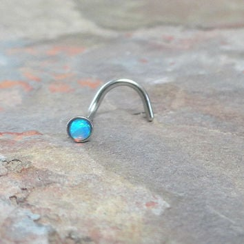 Fire Opal Nose Ring Stud