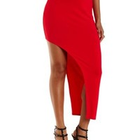Red Curved Slit Asymmetrical Maxi Skirt by Charlotte Russe