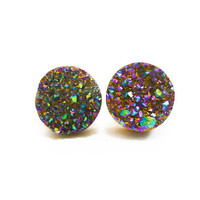 Rainbow Flame Druzy Stud Earrings n58 by AstralEYE on Etsy