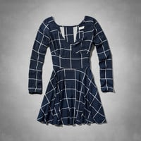 Check Long Sleeve Cutout Dress
