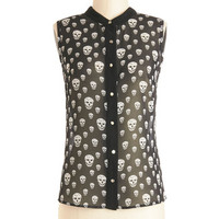 ModCloth Skulls Mid-length Sleeveless Head to Flow Top