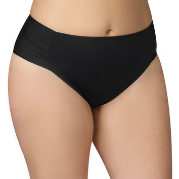 Plus Size - Black Swim Bottom With Ruched Sides - Black