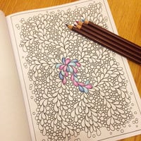 Coloring Book, Zentangle Inspired Printable File, 12 Pretty Patterns, Zendoodles to Color