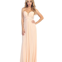 Blush Jersey & Lace Strapless Sweetheart Gown 2015 Prom Dresses