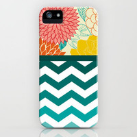 Flower ombre chevron iPhone Case by Go To Design | Society6
