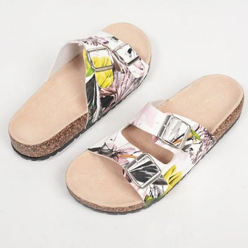 Floral Double Buckled Slides