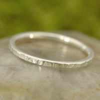 Back To School Sale Silver Ring - Argentium Sterling Silver - Hammered Ring - Handmade - Band