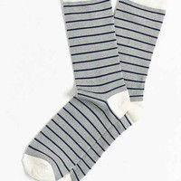 Mercerized Slub Stripe Sock- Light Grey One
