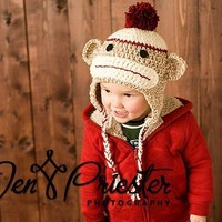 Boy Sock Monkey SetHat and Diaper Cover by britt6934 on Etsy