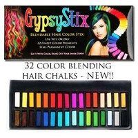 32 Color Hair Chalk Set | Lasts up to 3 Days | Blendable Pastel and Primary Colors | for All Hair Types | Sets in 60 Seconds