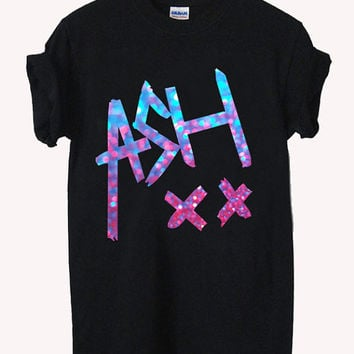 ash signature glitter Screenprint 100% soft cotton t-shirt For girl and men Unisex