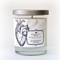 Rosewood Musk scented soy candle, anatomical heart, Curiosities collection