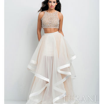 Terani 151P0102 White & Nude Two Piece Embellished Gown 2015 Prom Dresses