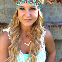 Flower Child Headband {Turquoise/Cream}