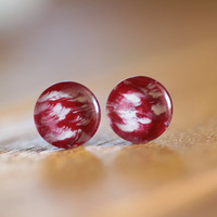 Hand Painted Light Red Post Earrings / Hand Painted Glass Earrings / Stud Earrings / Spring Jewelry